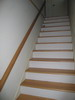 Sample of boxed stairs.  These treads are solid and are accompanied by paint grade risers.